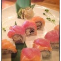 Cherry Blossom $17.95 Chopped scallops, tobiko & mayo topped with red tuna and salmon