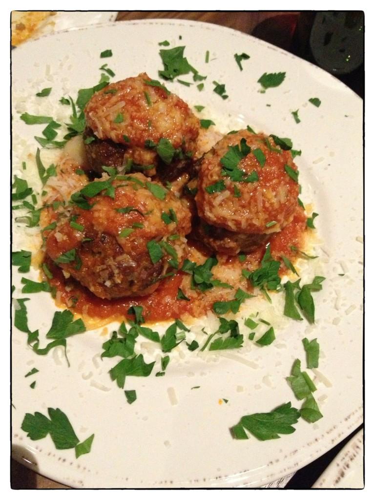 Mozzarella stuffed pork meatballs