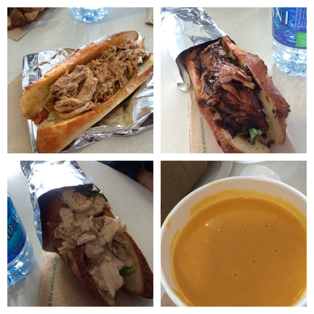 All good things come from S'wich: Top L - Smoked Pork Sandwich, Top R - Chinese Roasted Pork, Bottom L - Chicken Caesar Sandwich, Bottom R - Roasted Squash Soup