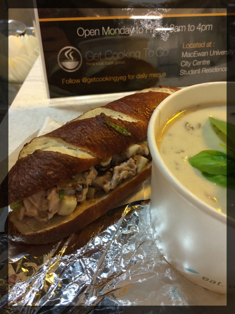 Chicken Waldorf Sandwich and Cream of Mushroom Soup