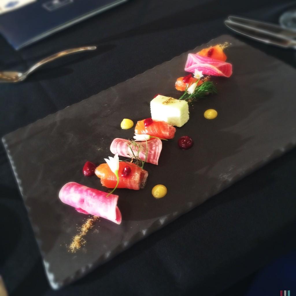 Citrus Cured Lois Lake Trout with Fennel Bavarois, Beet Emulsion