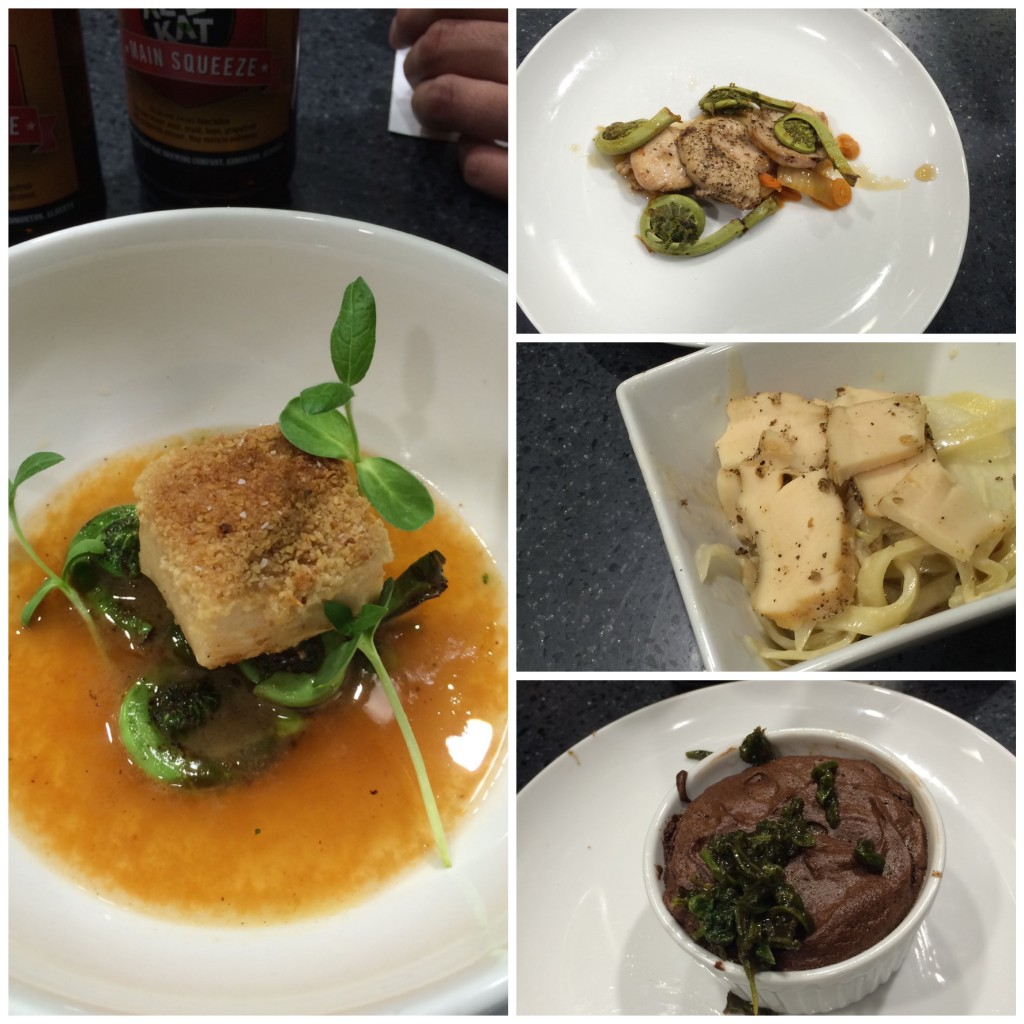 L: Tortilla-crusted squid with fiddleheads in pico de gallo consommé  R (top to bottom): Pan roasted lamb testicles with pickled fiddleheads; Smoked squid carbonara; Fiddlehead soufflé.