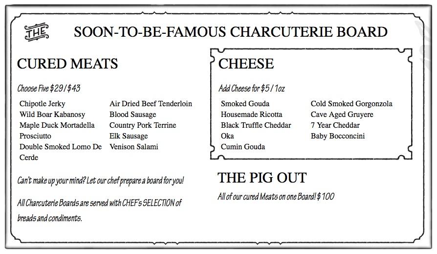 charcuterie menu