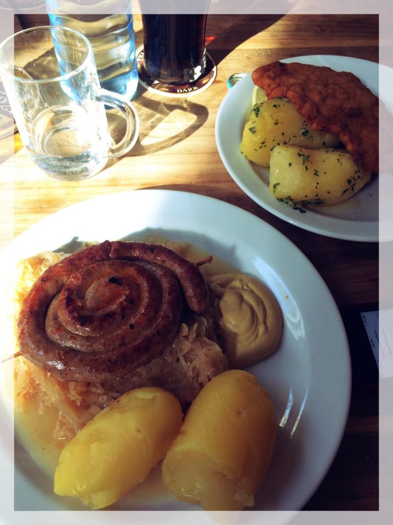 Local specialties: bratwurst, sauerkraut, potatoes, Wiener Schnitzel at Schoenperle (Beautiful Pearl) in the Karmeliter district.