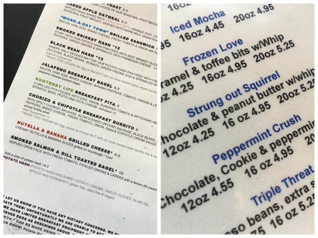 Hot Shots menu