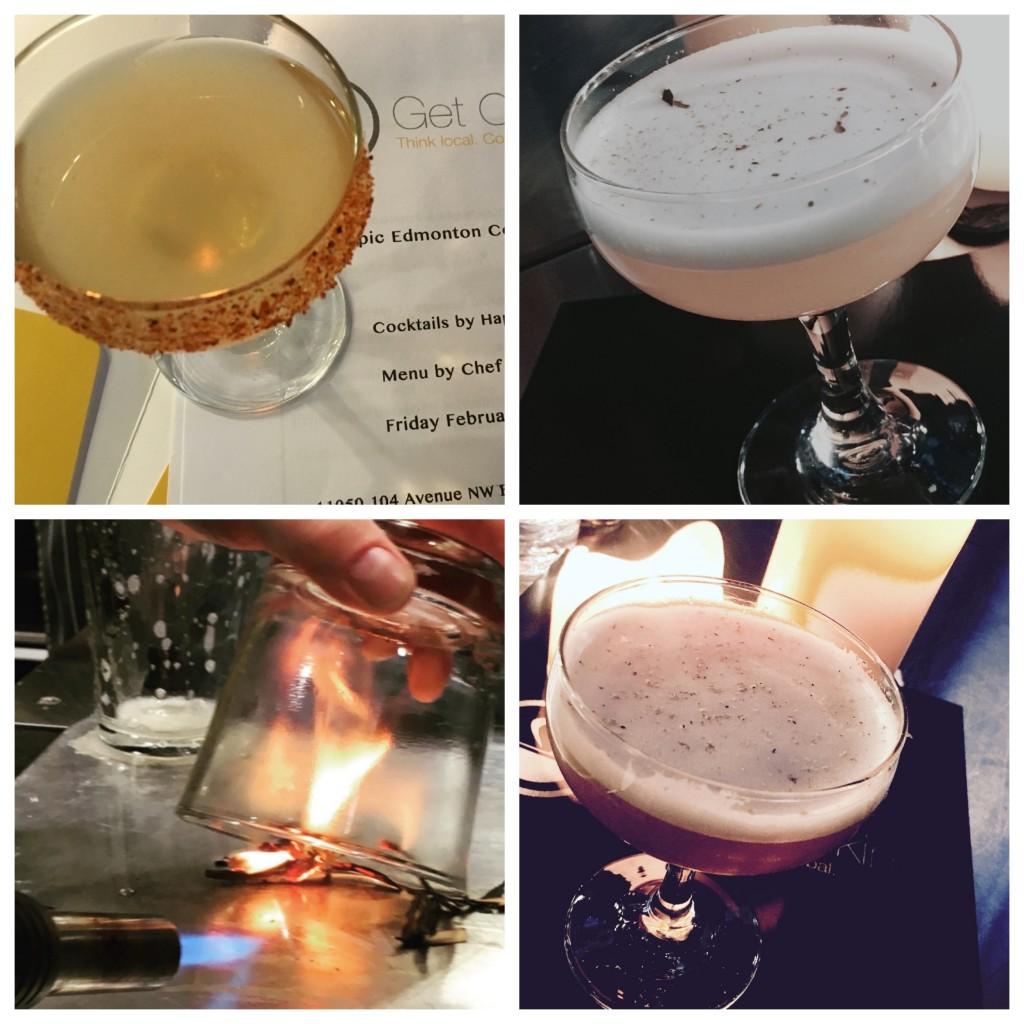 Top L: Tama Margarita Top R: El Padre Bottom L: Smoking cherry wood for the Black Pearl Bottom R: Chai Town Sour