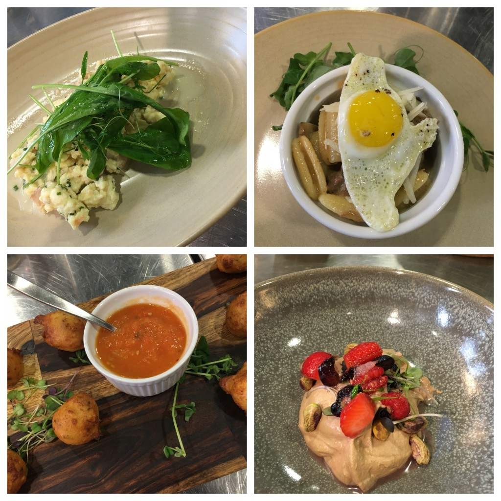 Top L: Arugula-topped scrambled eggs in lobster stock Top R: Quail Egg on pulled pork carbonara pasta Bottom L: Ricotta fritters w/tomato jam Bottom R: Chocolate mousse w/berries