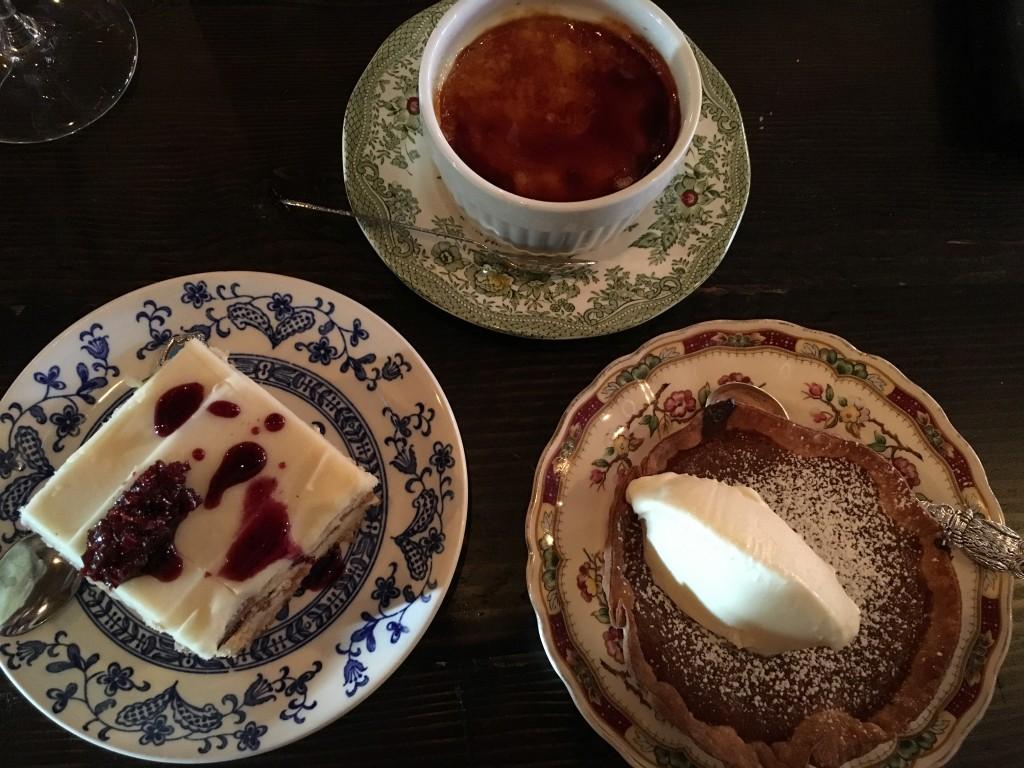 Left: Beet & vanilla cake Top: Creme Brûlée Right: Tarte au sucre